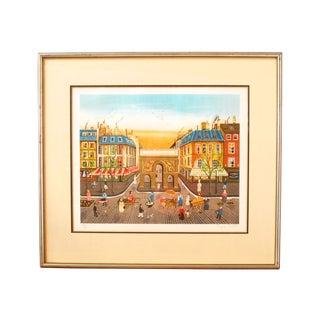 Lithograph - Eugene Valentin Paris Street Scene