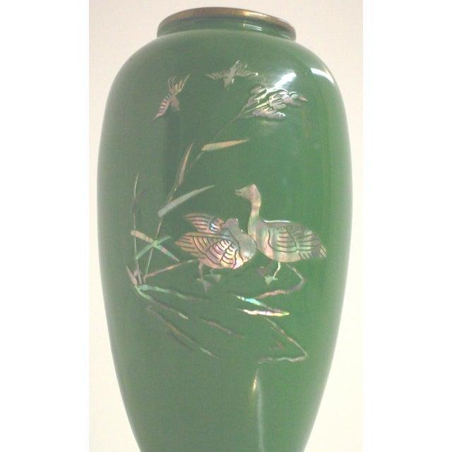 Green Enamelled Chinoiserie Brass Vase - Image 3 of 5