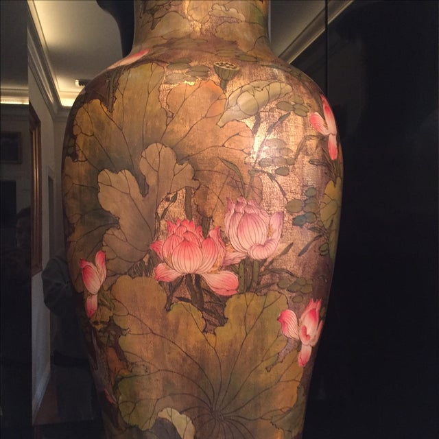 Gold Porcelain Vases with Pink Lotus - A Pair - Image 3 of 7