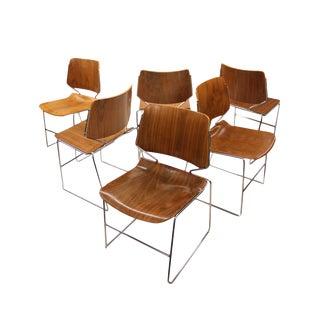 Vintage Walnut Krueger Matrix Stacking Chairs - Set of 6