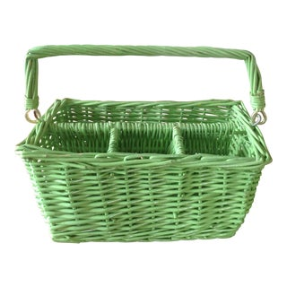 Vintage Green Wicker Utensil Caddy