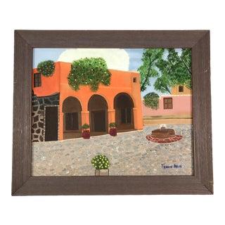 Vintage Original Spanish Courtyard Painting