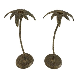 1970s Brass Palm Tree Candlesticks - A Pair