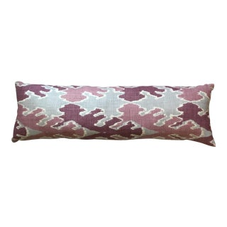 Purple & Gray Linen Ikat Pillow