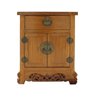 Chinese Light Brown Moon Face Foo Dog Carved End Table Nightstand