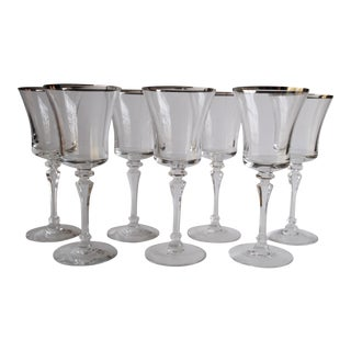 Vintage Silver Rim Cocktail Glasses - Set of 7