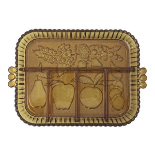 Vintage Amber Indiana Glass Fruit Platter