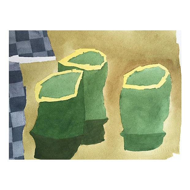 Modernist Still Life Watercolor Painting - Image 3 of 6
