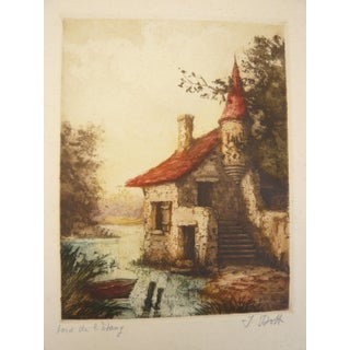Vintage French Lake House Etching