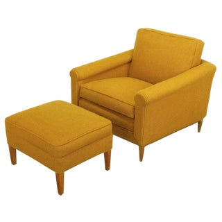 Rolled Arm Amber Wool Lounge Chair & Ottoman