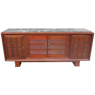 Monumental French Art Deco Solid Mahogany Sideboard / Buffet / Bar By Maxime Old Circa 1940s.