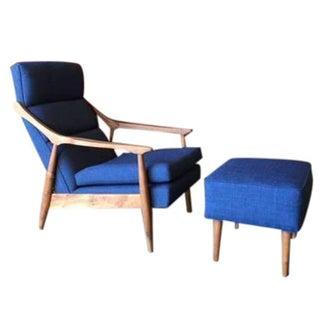 Custom Mid-Century Blue Lounge Chair & Ottoman