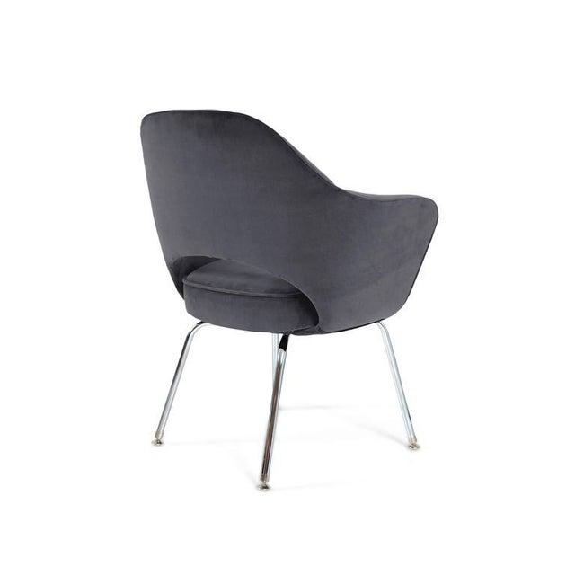 Saarinen Executive Armchairs in Gunmetal Grey Velvet, Set of Six - Image 3 of 4