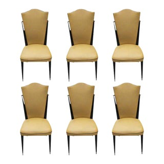 1940s French Art Deco Mahogany Dining Chairs - Set of 6
