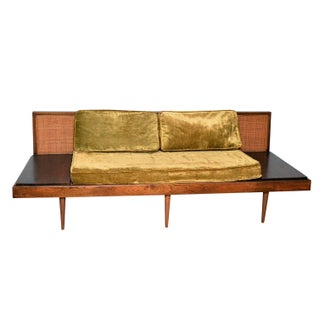 Mid-Century Platform Sofa with Attached Tables