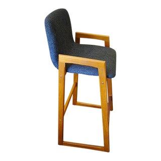 PAIR Danish Modern Teak Barstools Upholstered