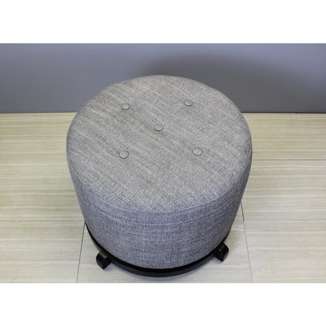 Vintage Mid-Century Gray Ottomans - A Pair - Image 3 of 5