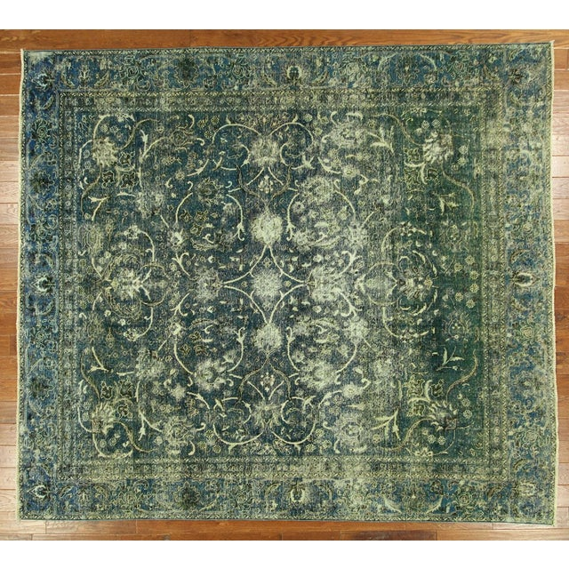"""Oriental Overdyed Tabriz Floral Rug - 9'2"""" x 10'2 - Image 2 of 11"""