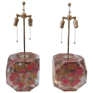 Lucite Layered Hexagonal Block Lamps, Pair