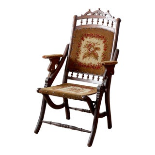 Victorian Tapestry Upholstered Folding Chair