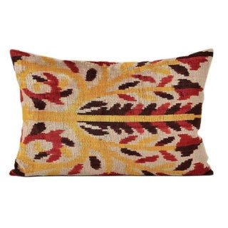 Flame Tree Ikat Silk Velvet Pillow