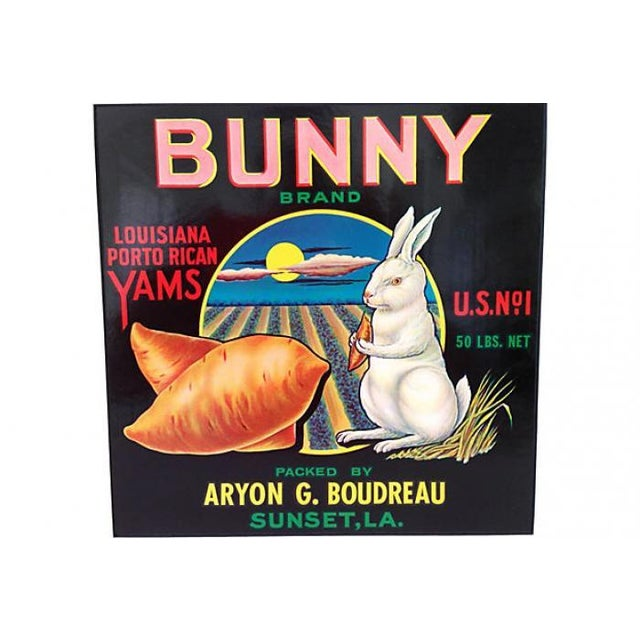 Image of 1940s Bunny Brand Yams Crate Label