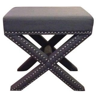 Grey X-Bench With Nailhead Trim Gray Ottoman Stool