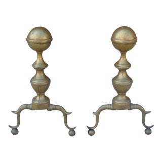 Antique Colonial Brass Ball Fireplace Andirons - Pair