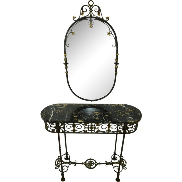 Antique Oval Marble Console with Mirror - Image 1 of 11