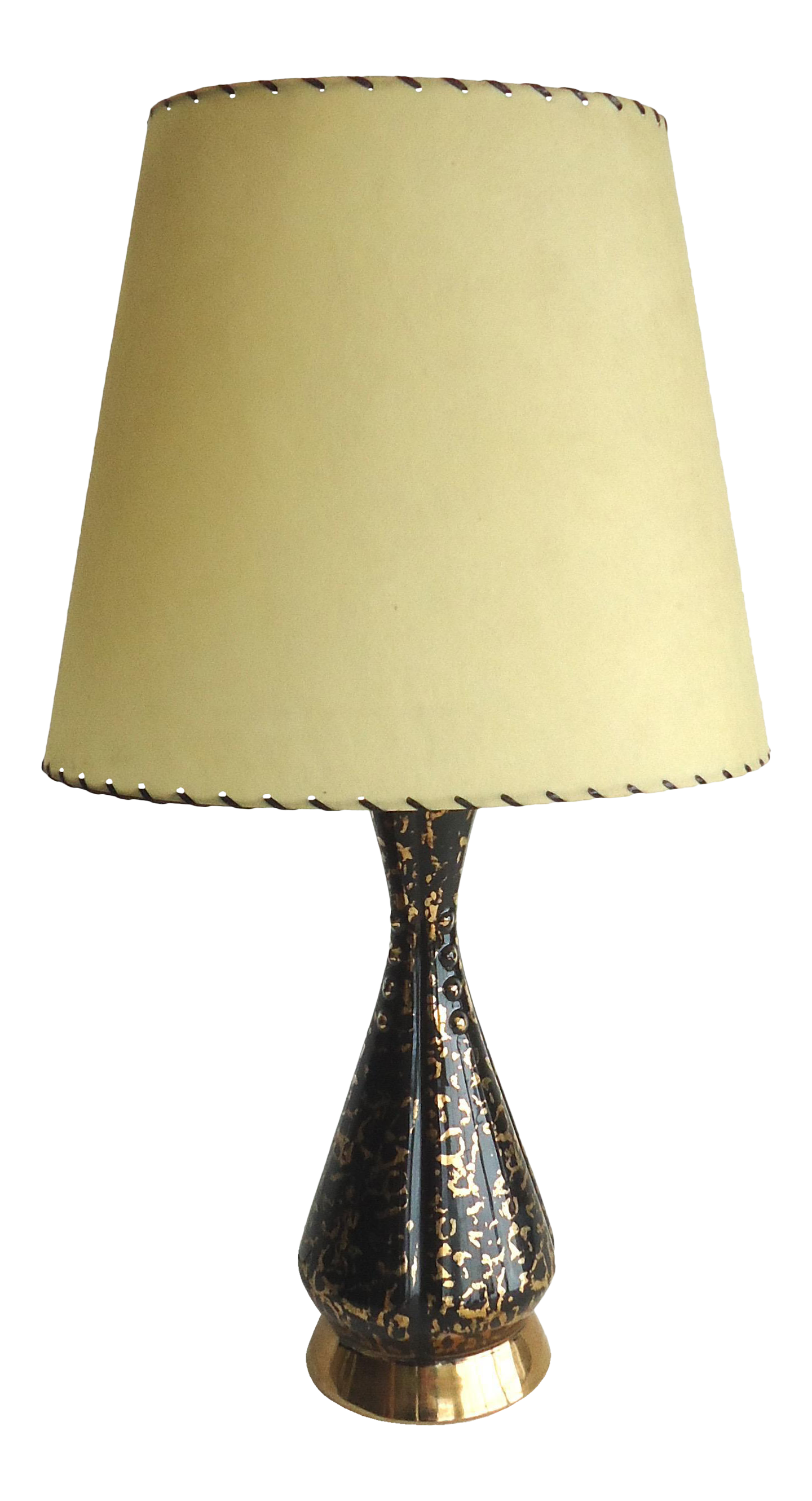 Mid Century Black U0026 Gold Table Lamp With Fiberglass Shade