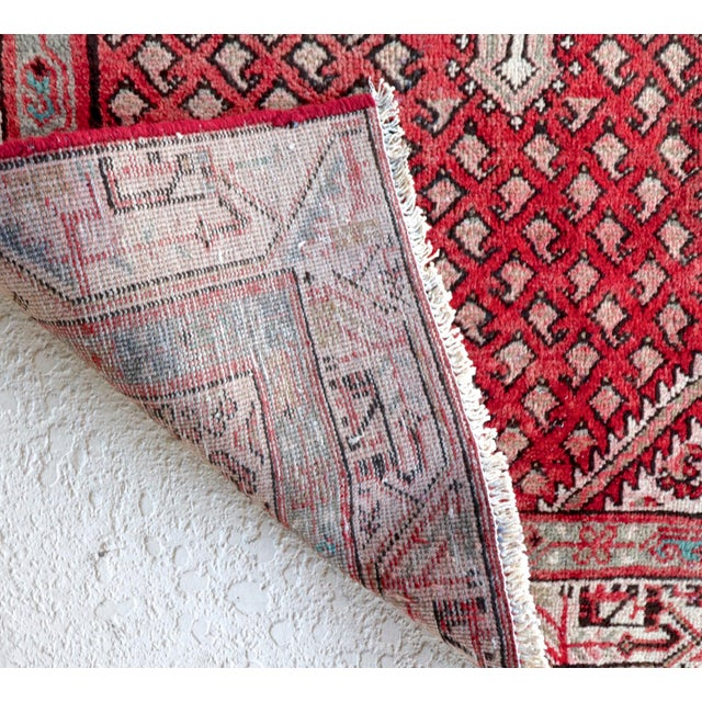 Image of Strawberry & Mint Vintage Persian Rug - 3′3″ × 4′11″