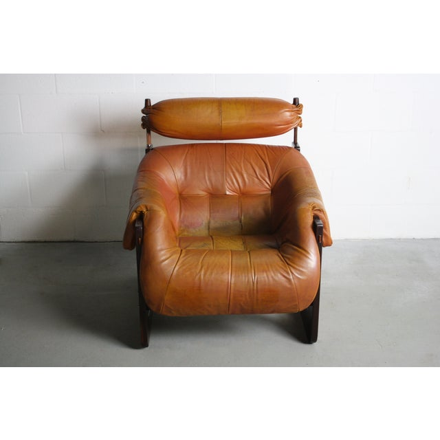 Percival Lafer Rosewood Tan Leather Lounge Chair - Image 3 of 11