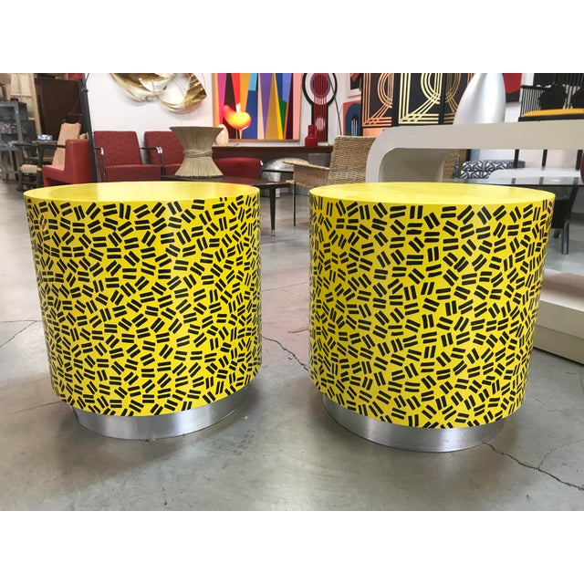 Pop Art Post Modern Cylinder Side Tables -A Pair - Image 7 of 7