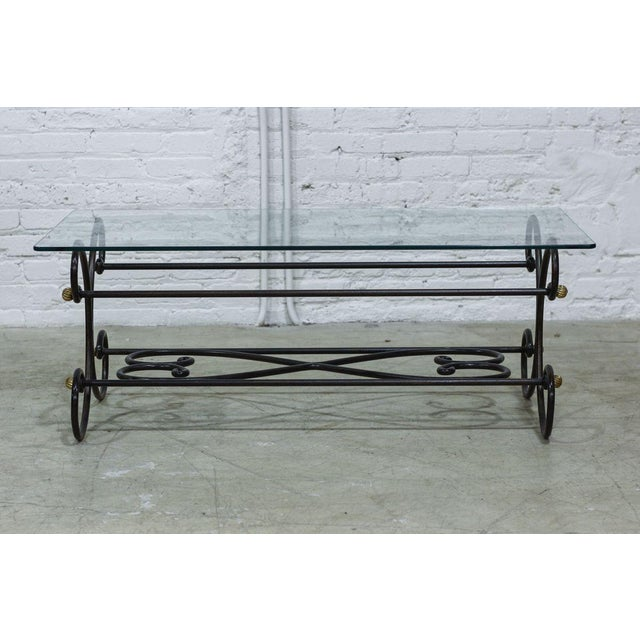 Image of Coffee Table With Bronze Frame And Glass Top