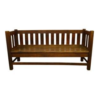 Antique Mission Arts & Crafts Solid Oak Bench