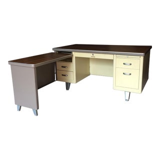 Shaw Walker Vintage Tanker Desk & Side Return