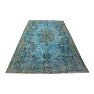 "Turquoise Turkish Overdyed Rug - 6'2"" X 10'"