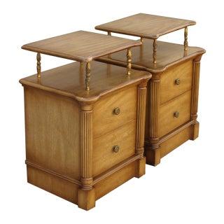 Vintage 2-Drawer Regency Style Nightstands - Pair