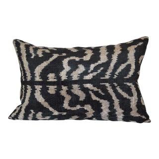 """""""Beyoglu"""" Black & White Silk Velvet Ikat Pillow"""