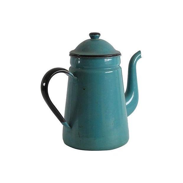 Image of Turquoise Enamel Coffeepot