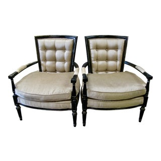 Maitland Smith Ebonized Wood Silk Armchairs - A Pair