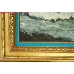 Image of Large Vintage Dramatic Oil Seascape Painting