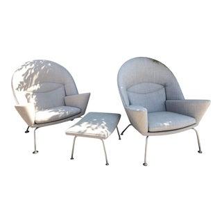 Hans J. Wegner Oculus Chairs & Ottoman - Set of 3