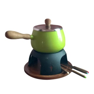 Green Fondue Pot With Stand