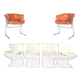 Gastone Rinaldi for Rima of Italy Mid Century Chrome Dining Chairs - Set of 6