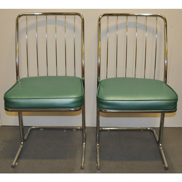 Set Of 4 Kitchen Chairs: 1950s Chrome & Vinyl Kitchen Chairs - Set Of Four