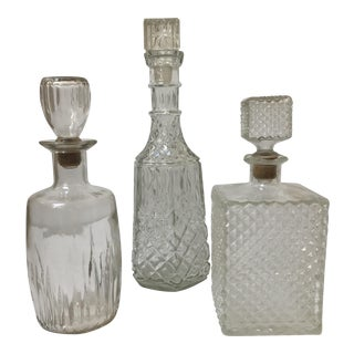 Vintage Glass Decanters - Set of 3