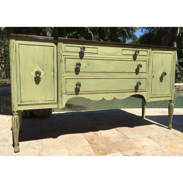 Vintage Green Milk Paint Buffet Sideboard Credenza - Image 2 of 11