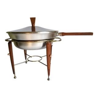 Mid 20th Century Modern BW Buenilum Aluminium Teak Wood Atomic Era Chafing Dish