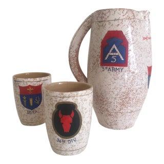 Vintage 5th Army 34th DIV 125th Field Military Souvenir Italian Ceramic Beverage Set - Set of 3